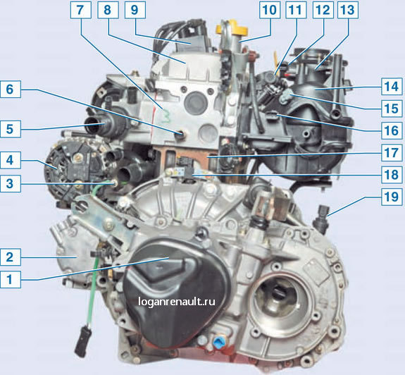 Вид на двигатель слева: 1